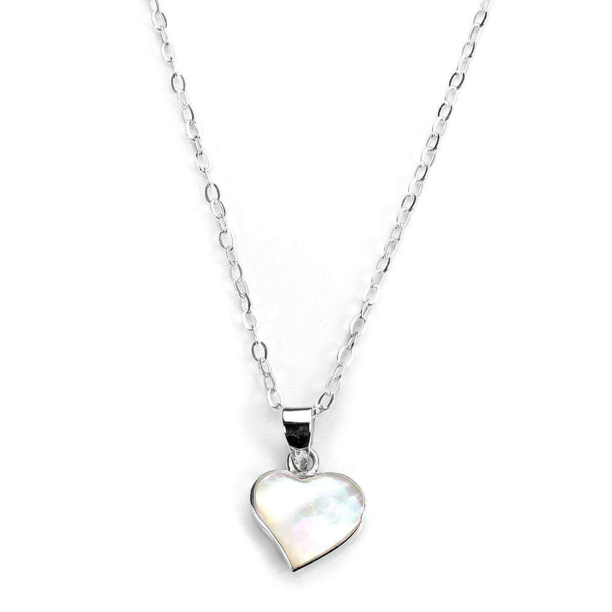 Sterling Silver & Mother of Pearl Flat Heart Pendant Necklace