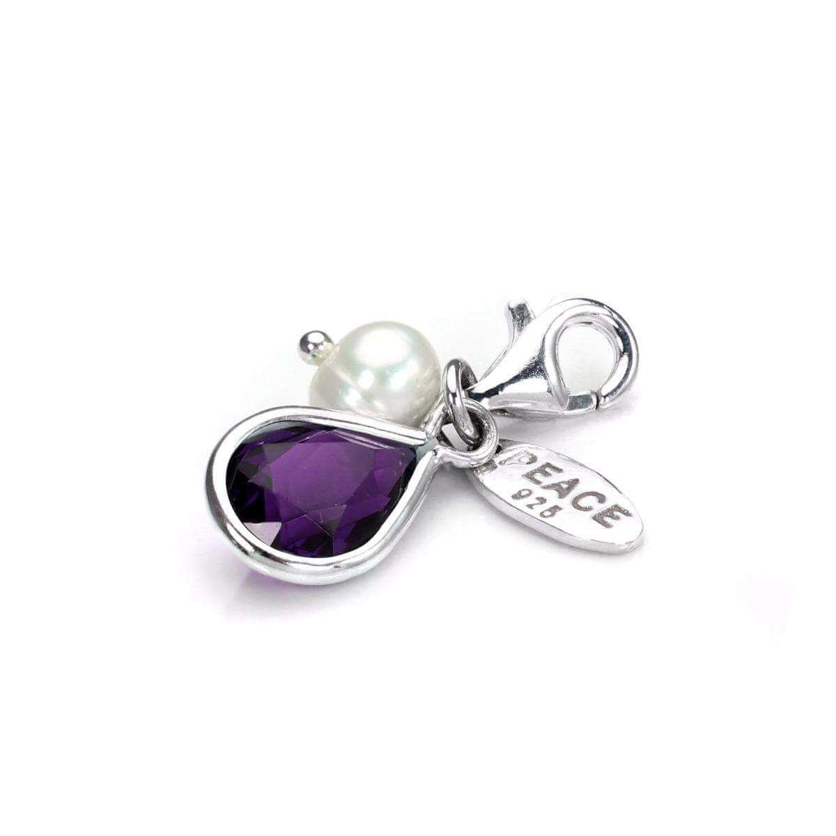 Sterling Silver Amethyst CZ Crystal & White Freshwater Pearl Clip-on Charm