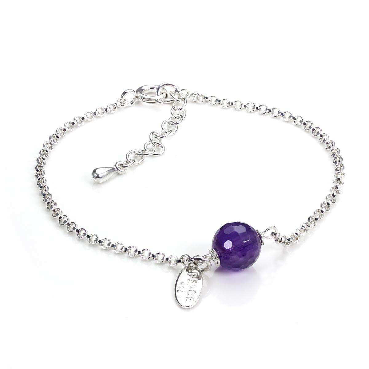 Adjustable Sterling Silver Bracelet with Amethyst Bead and Peace Disc