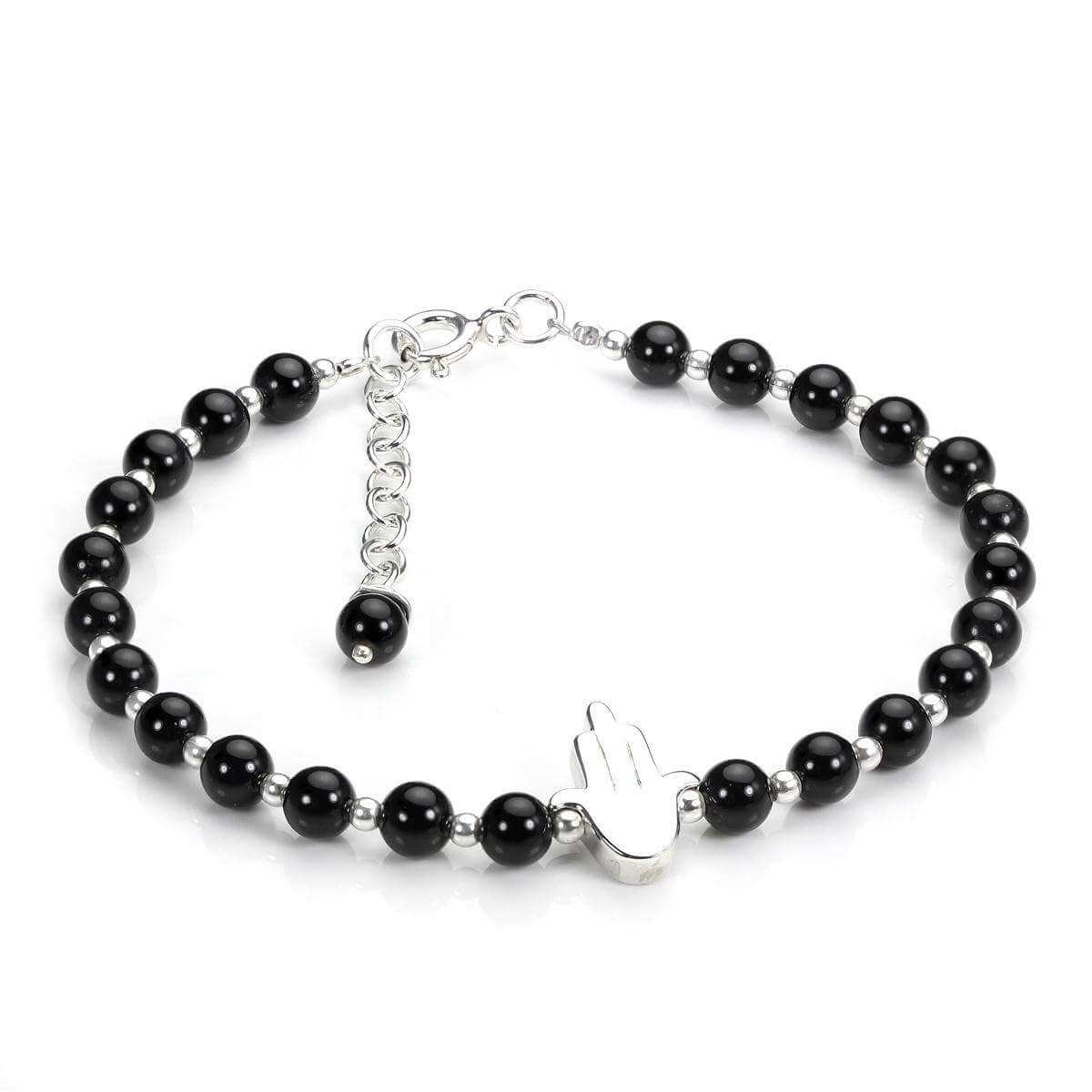 Sterling Silver & Black Agate Adjustable Bracelet with Hamsa Charm
