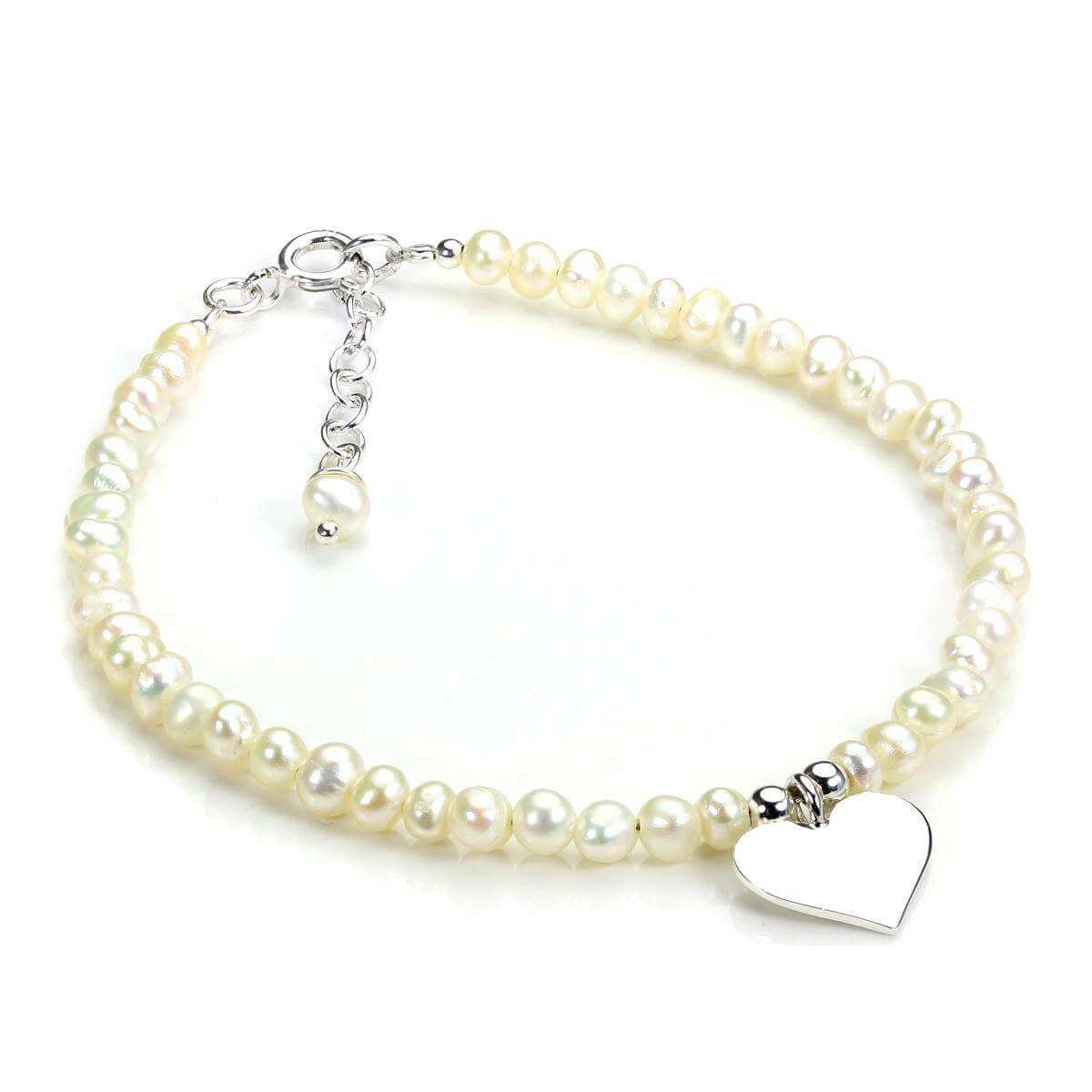 Sterling Silver & White Freshwater Pearl Adjustable Bracelet with Heart Charm