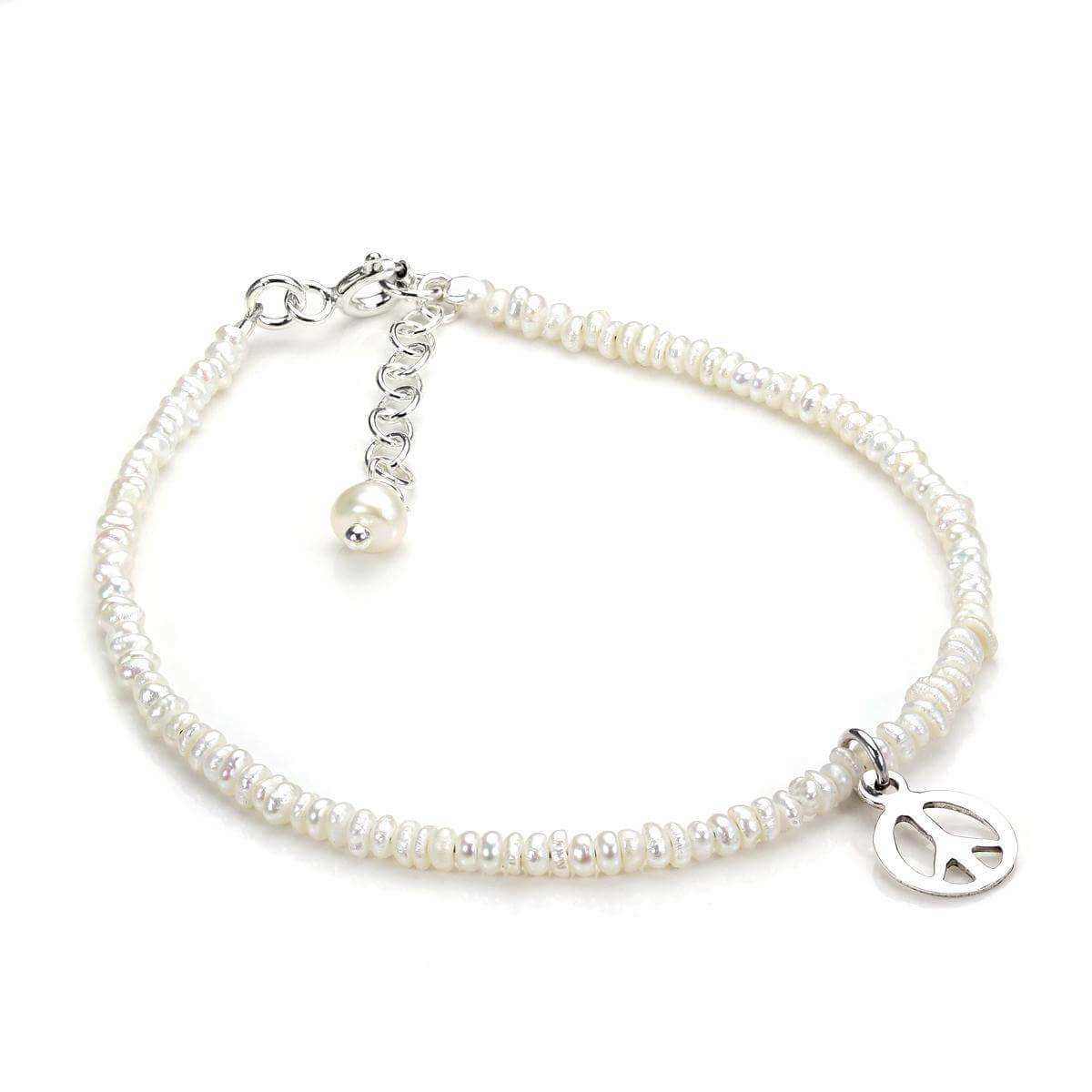 Sterling Silver & White Freshwater Pearl Bracelet with Peace Charm