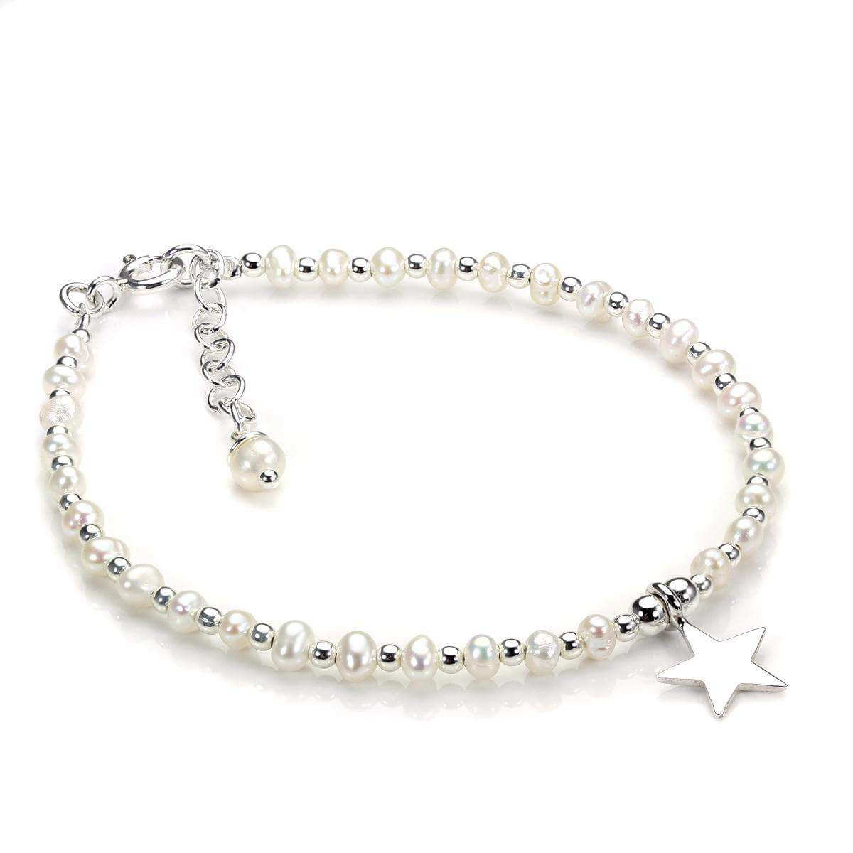 Sterling Silver & White Freshwater Pearl Bracelet with Star Charm