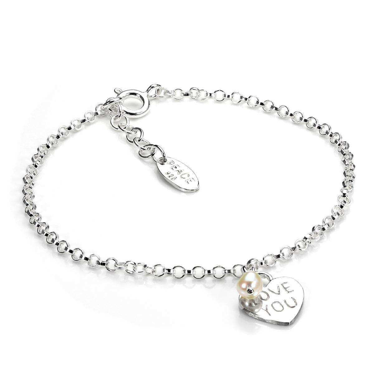 Sterling Silver Rolo Chain Bracelet with Love You Heart Charm