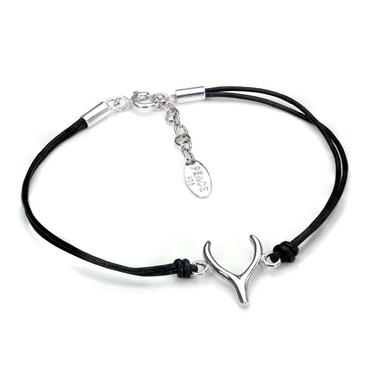 Adjustable Black Cord Bracelet with Sterling Silver Wishbone Charm