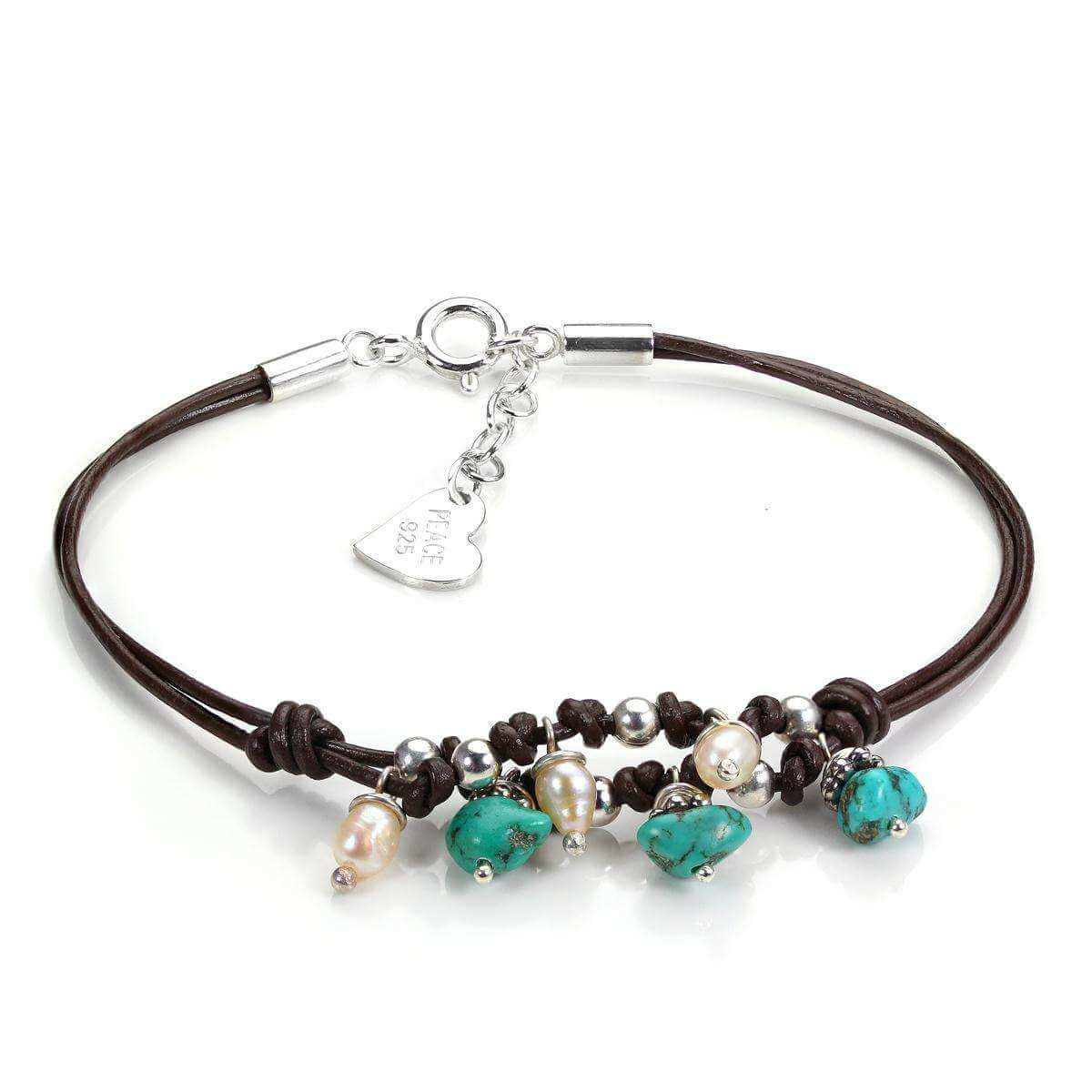 Brown Leather Bracelet with Sterling Silver Turquoise and Pearl Beads