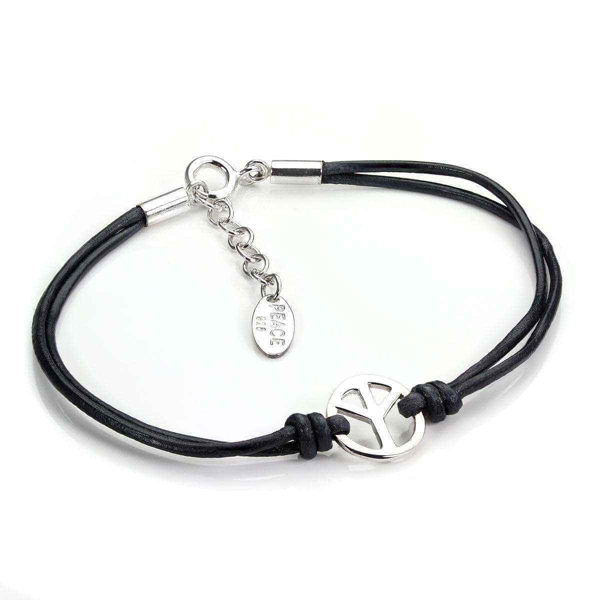 Black Leather Cord & Sterling Silver Peace Bracelet