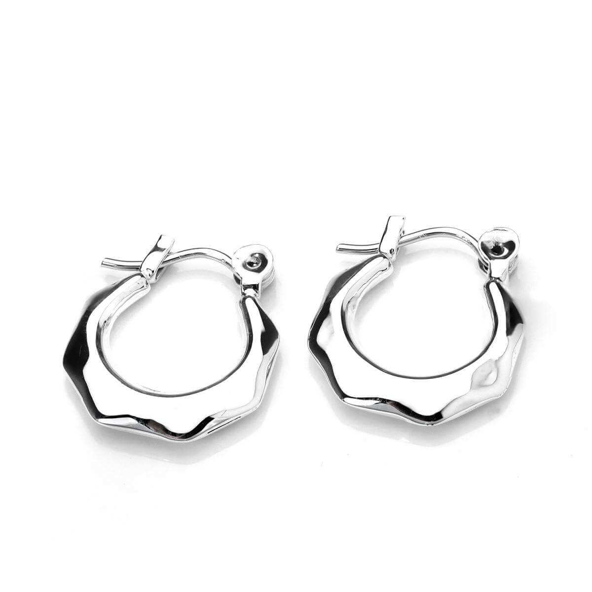 Sterling Silver Faceted Design Creole Earrings