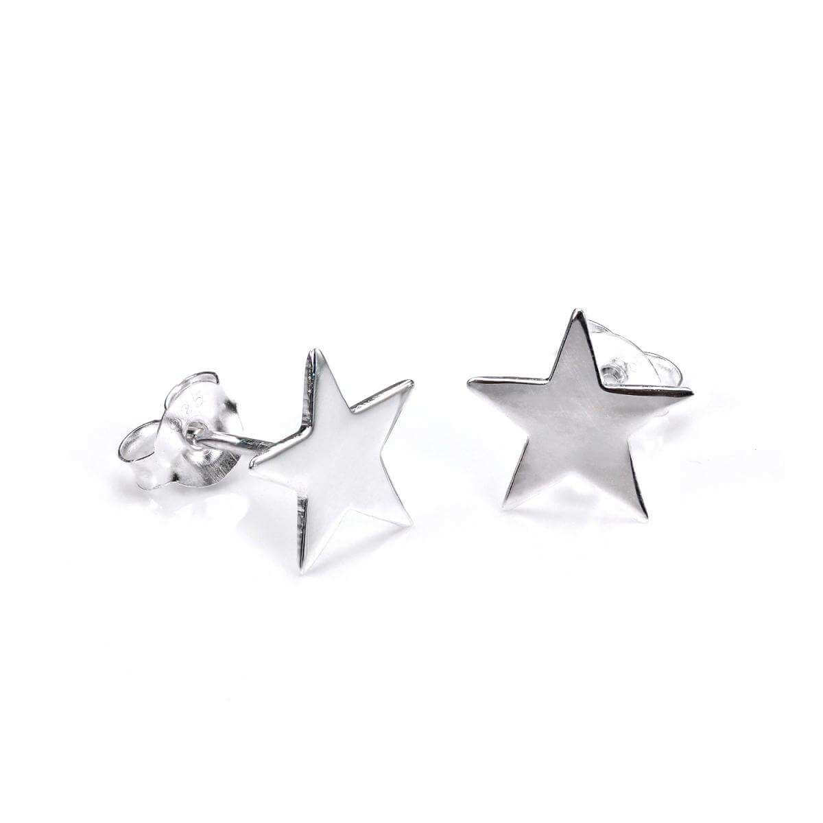 Sterling Silver Polished Star Stud Earrings