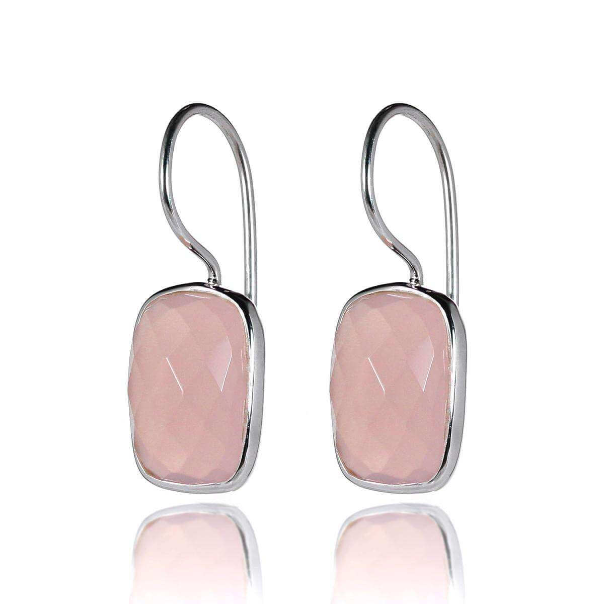 Sterling Silver Pink Hydro Quartz Drop Earrings