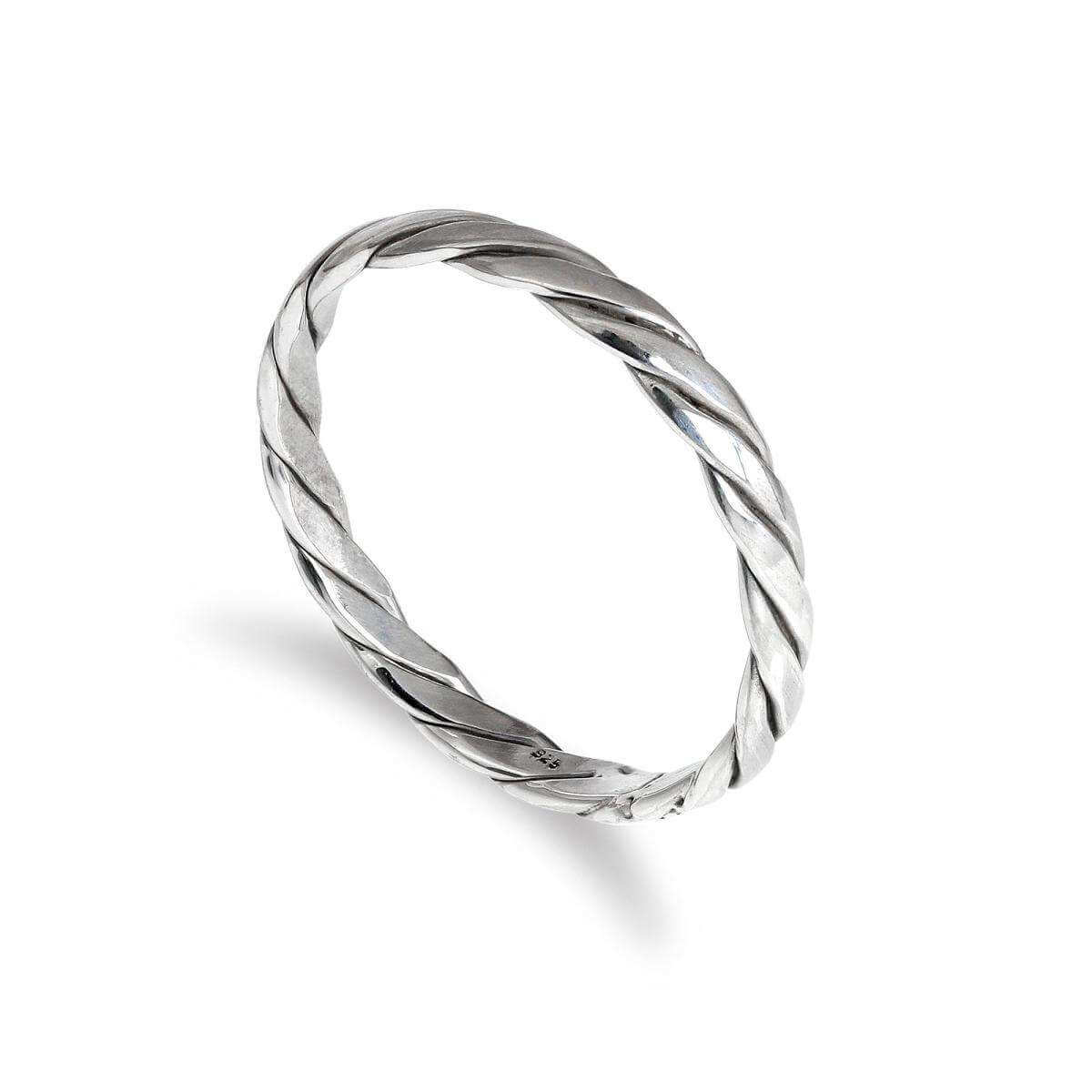 Sterling Silver 2mm Twisted Pattern Stacking Ring Size I-U