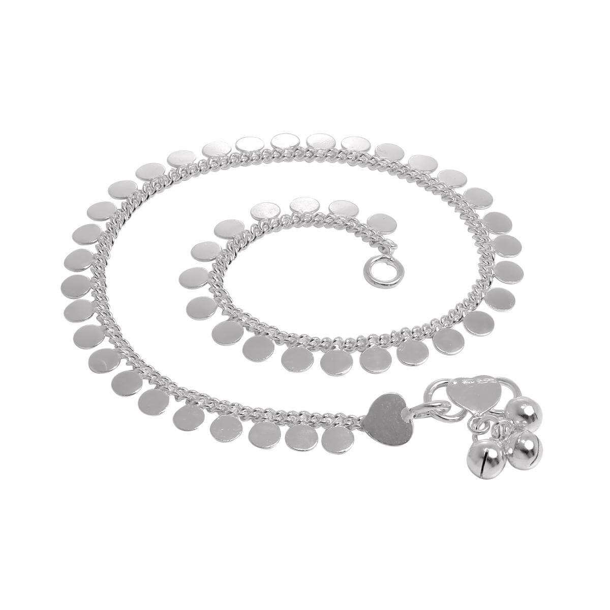 Sterling Silver Anklet with Round Disc Charms