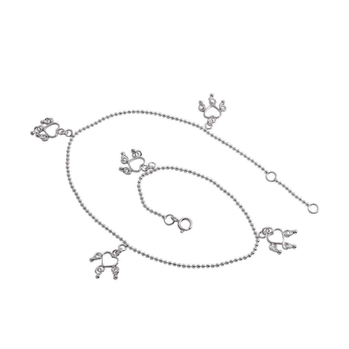 Light Sterling Silver Anklet with Open Heart Charms