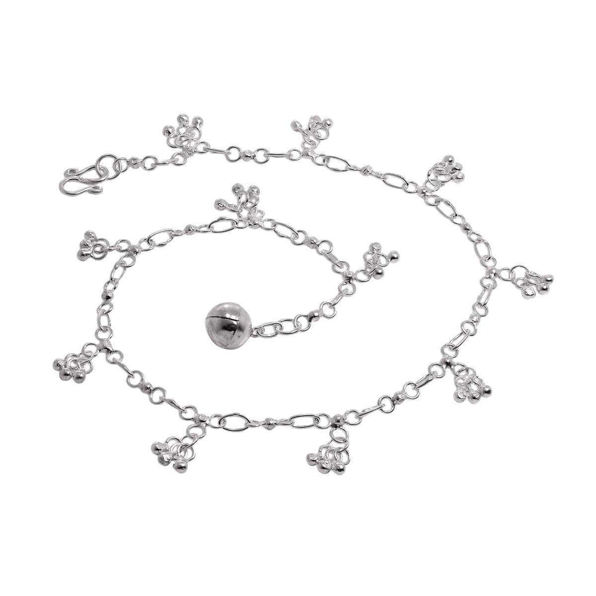 Sterling Silver Anklet with Chandelier Charms