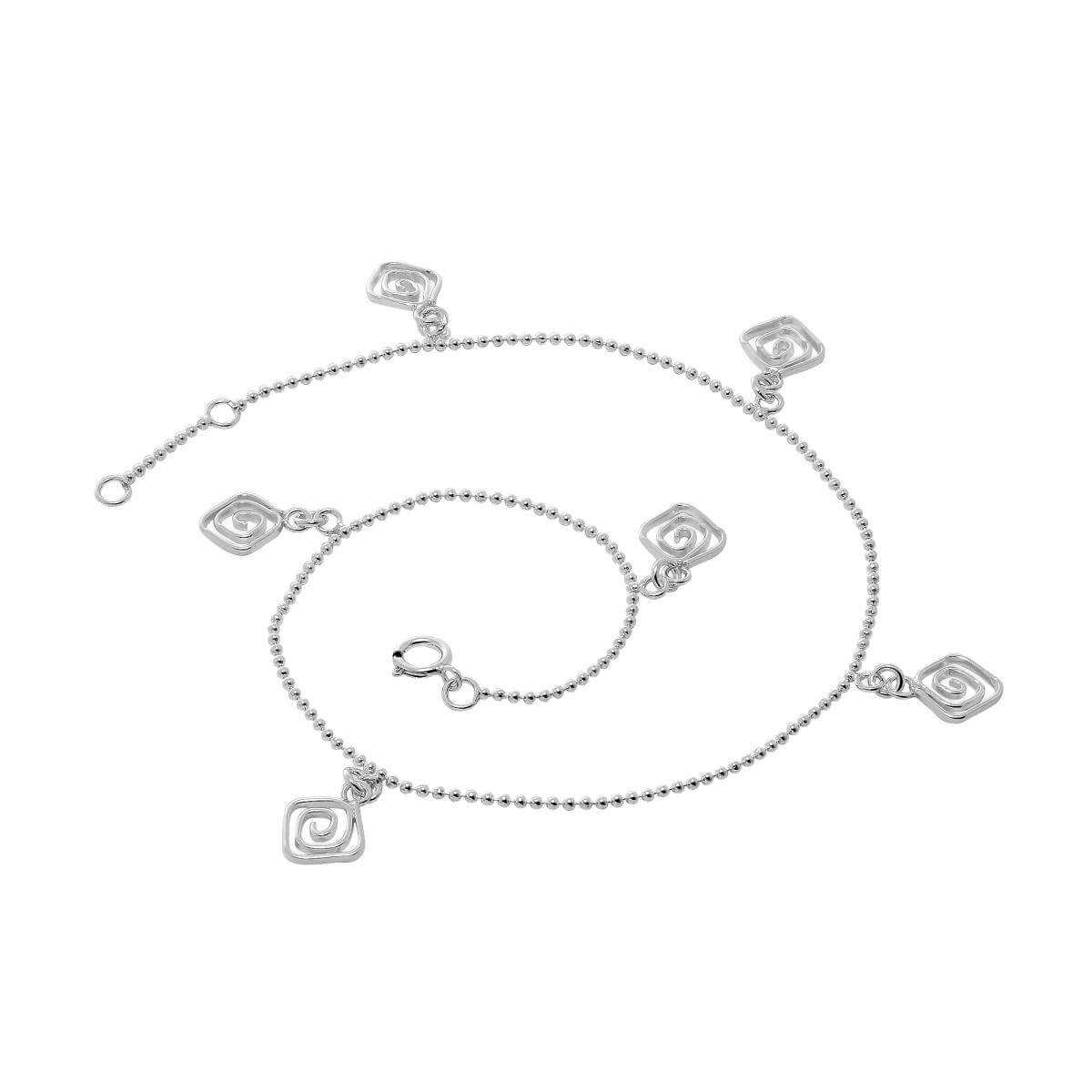 Sterling Silver Bead Chain Anklet with Square Swirl Charms