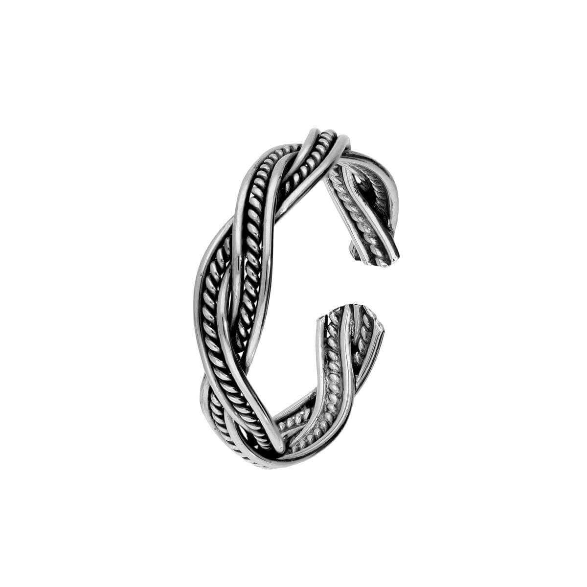 Fancy Sterling Silver Twirl Weave Toe Ring