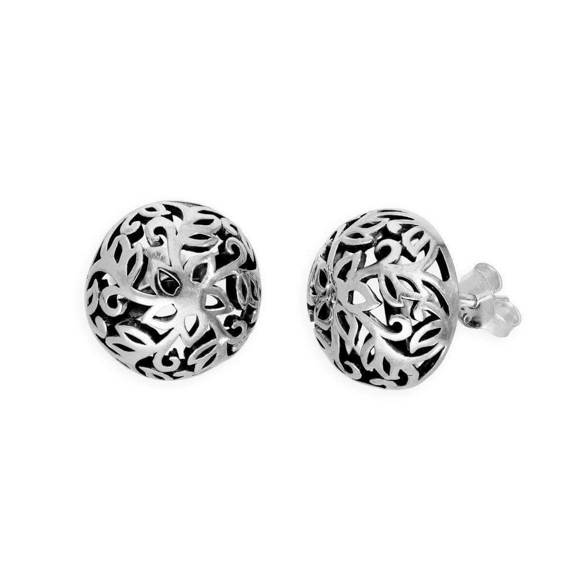 Sterling Silver Round Fancy Floral Stud Earrings