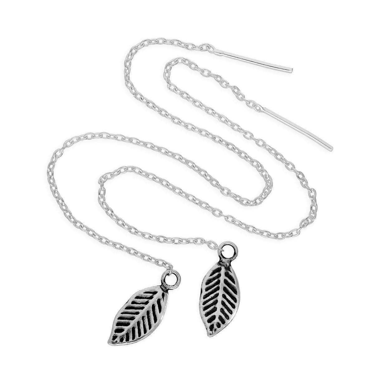 Sterling Silver Leaf Pull Through Earrings