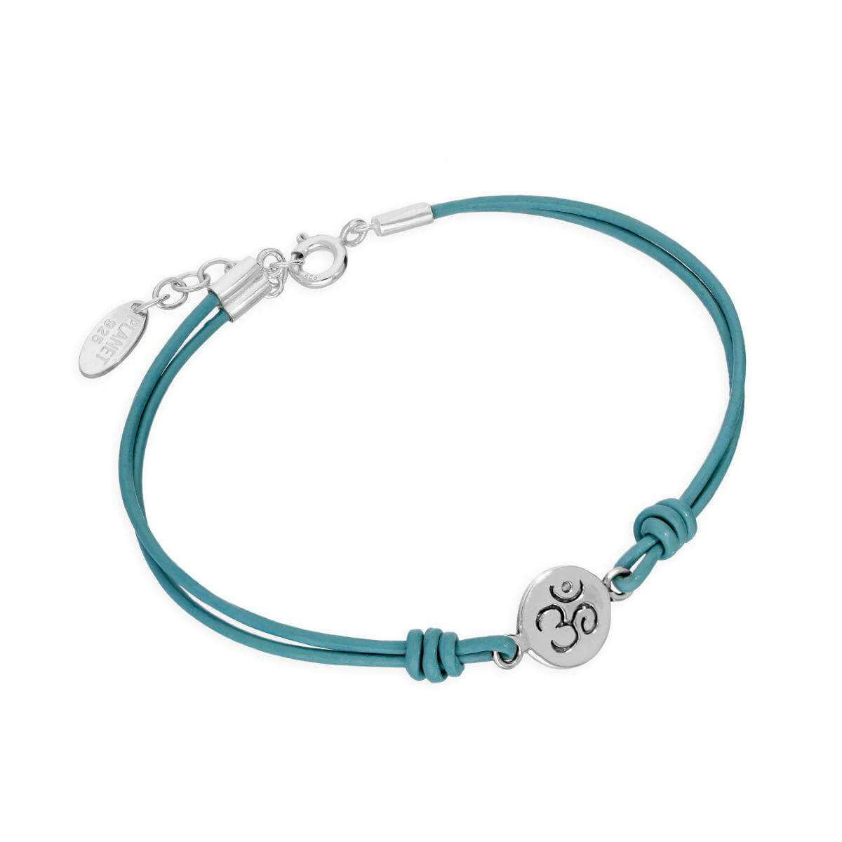 Sterling Silver & Turquoise Cord Hindu Om Symbol 7 Inch Bracelet