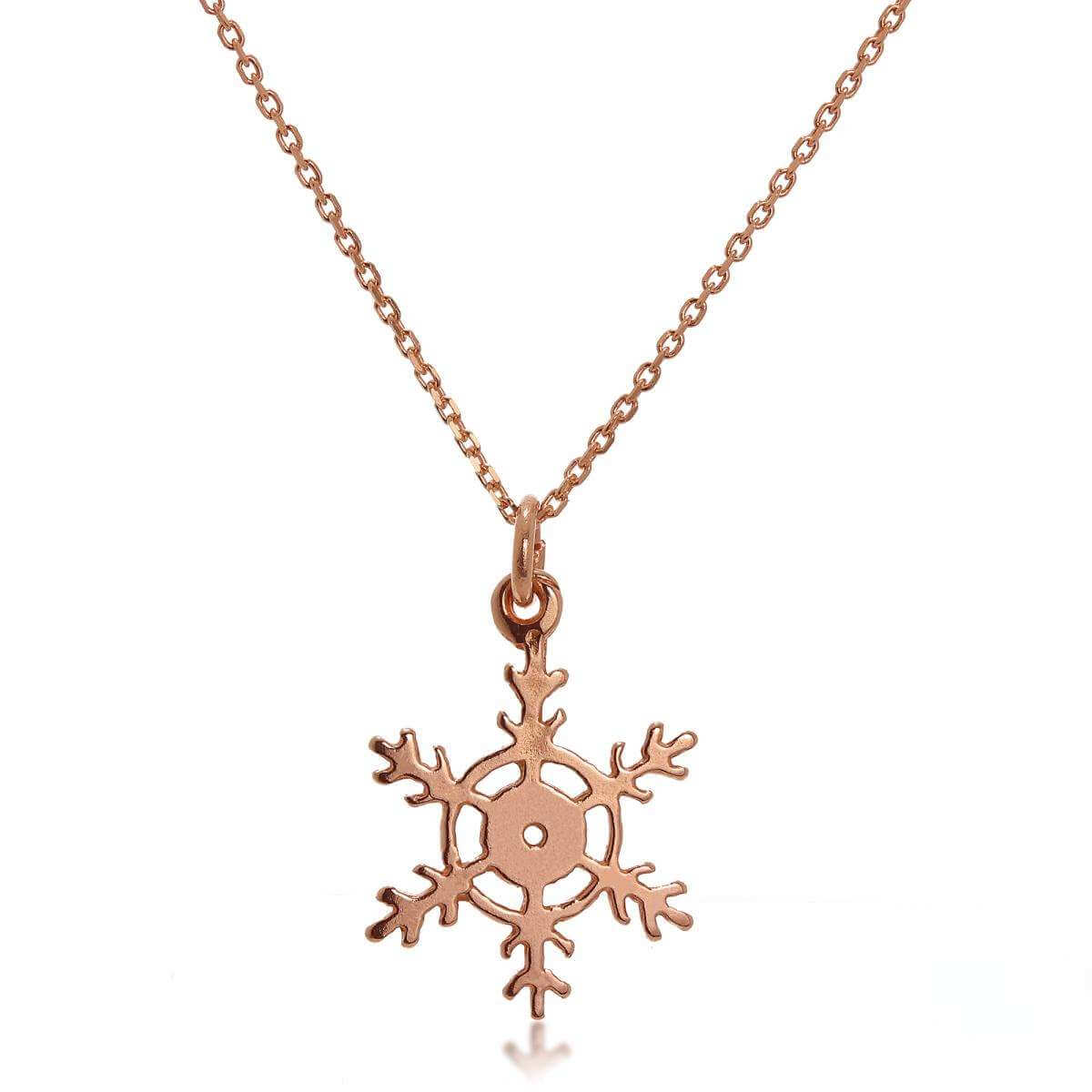 9ct Rose Gold Winter Snowflake Necklace on Chain 16 - 20 Inches