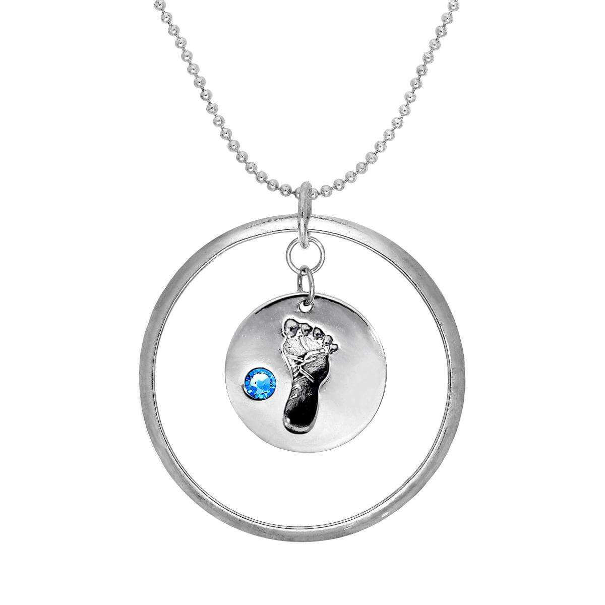 Sterling Silver Karma Moments Pendant with Birthstone Baby Footprint Charm on Bead Chain Necklace