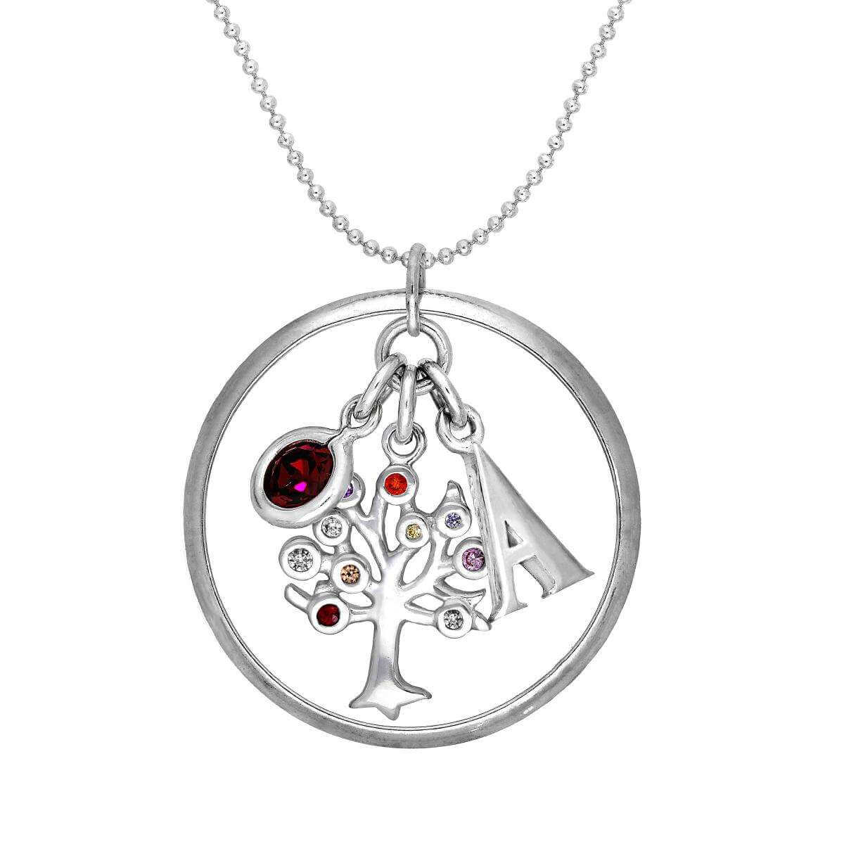 Sterling Silver Karma Moments Pendant CZ Birthstone & Initial Letter Necklace on Chain