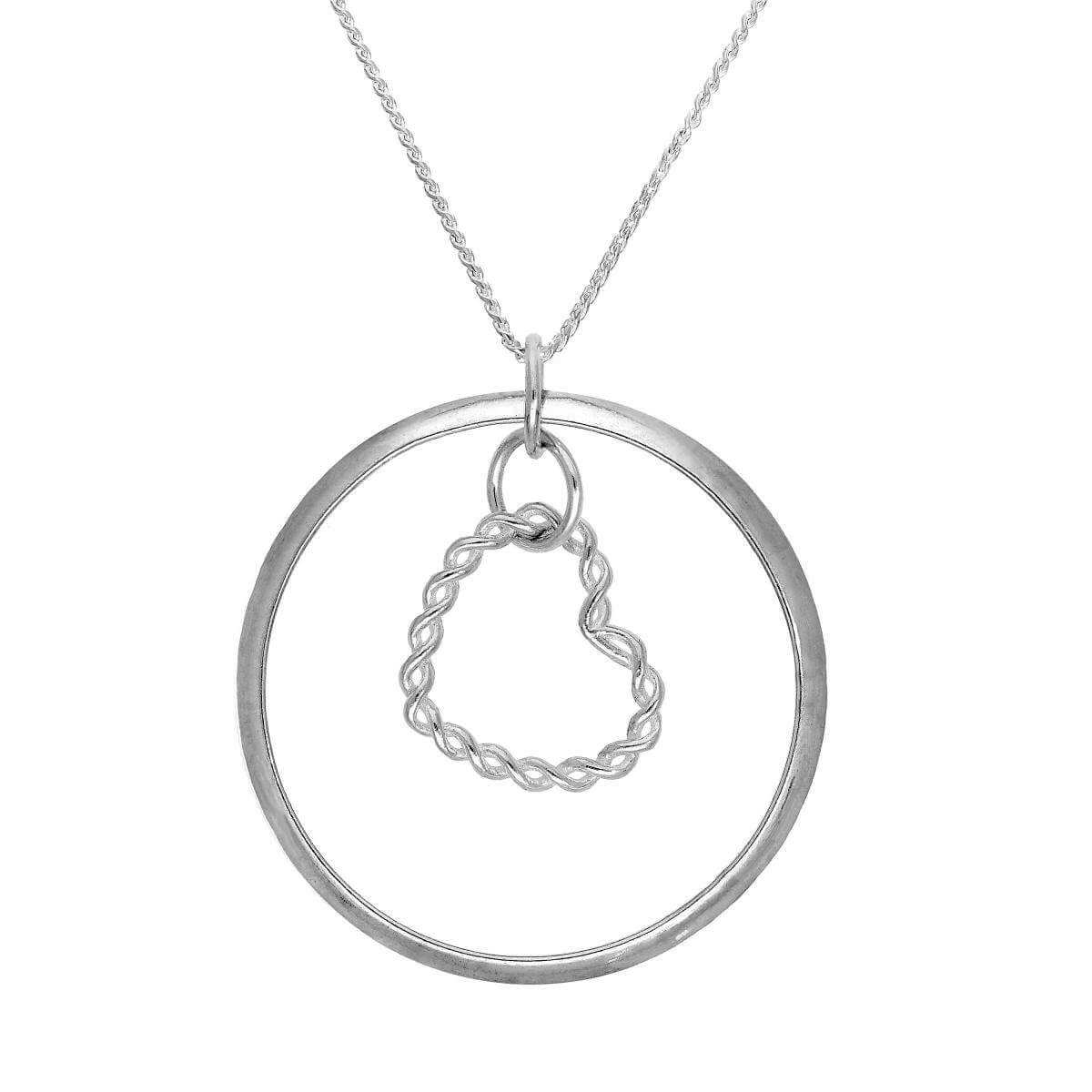 Sterling Silver Karma Moments Twisted Heart Pendant on Foxtail Chain Necklace