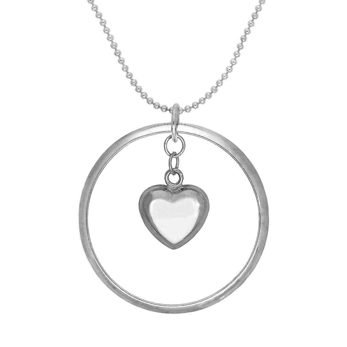 Sterling Silver Karma Moments Puffed Heart Pendant on Bead Chain Necklace