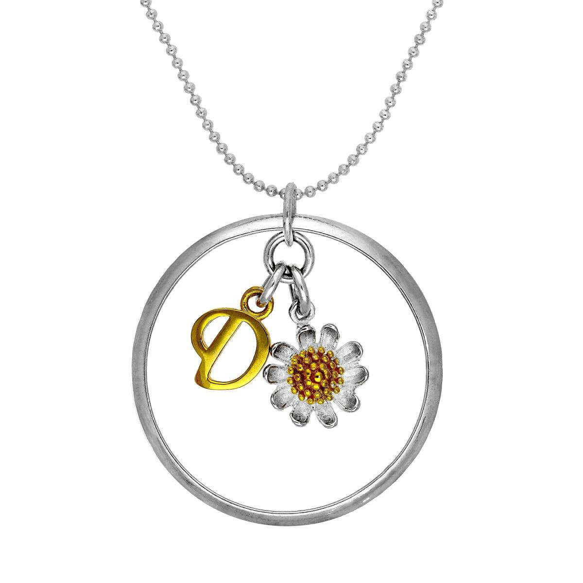 Gold Plated Sterling Silver Karma Moments Daisy & Initial Letter Pendant on Bead Chain Necklace