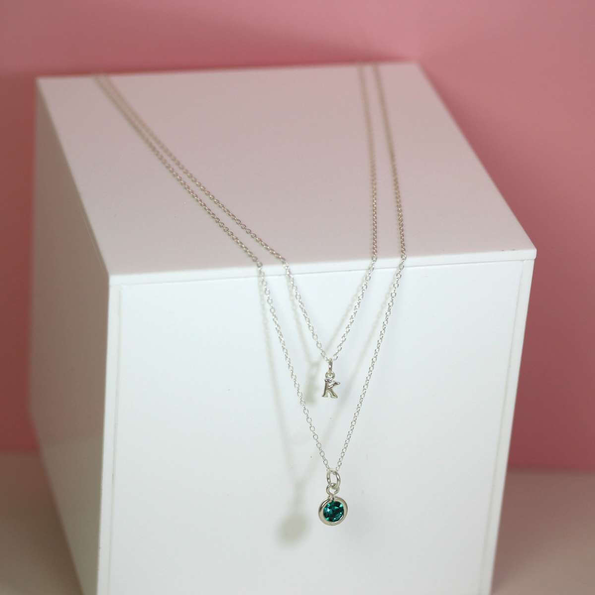 Sterling Silver Double Layer Birthstone & Initial Necklace
