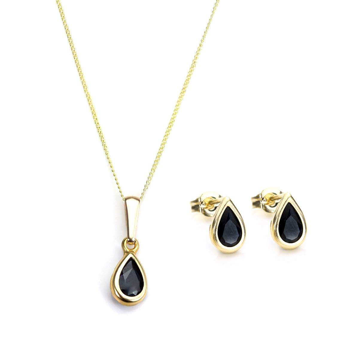 9ct Gold & September Birthstone Pendant & Stud Earrings Set