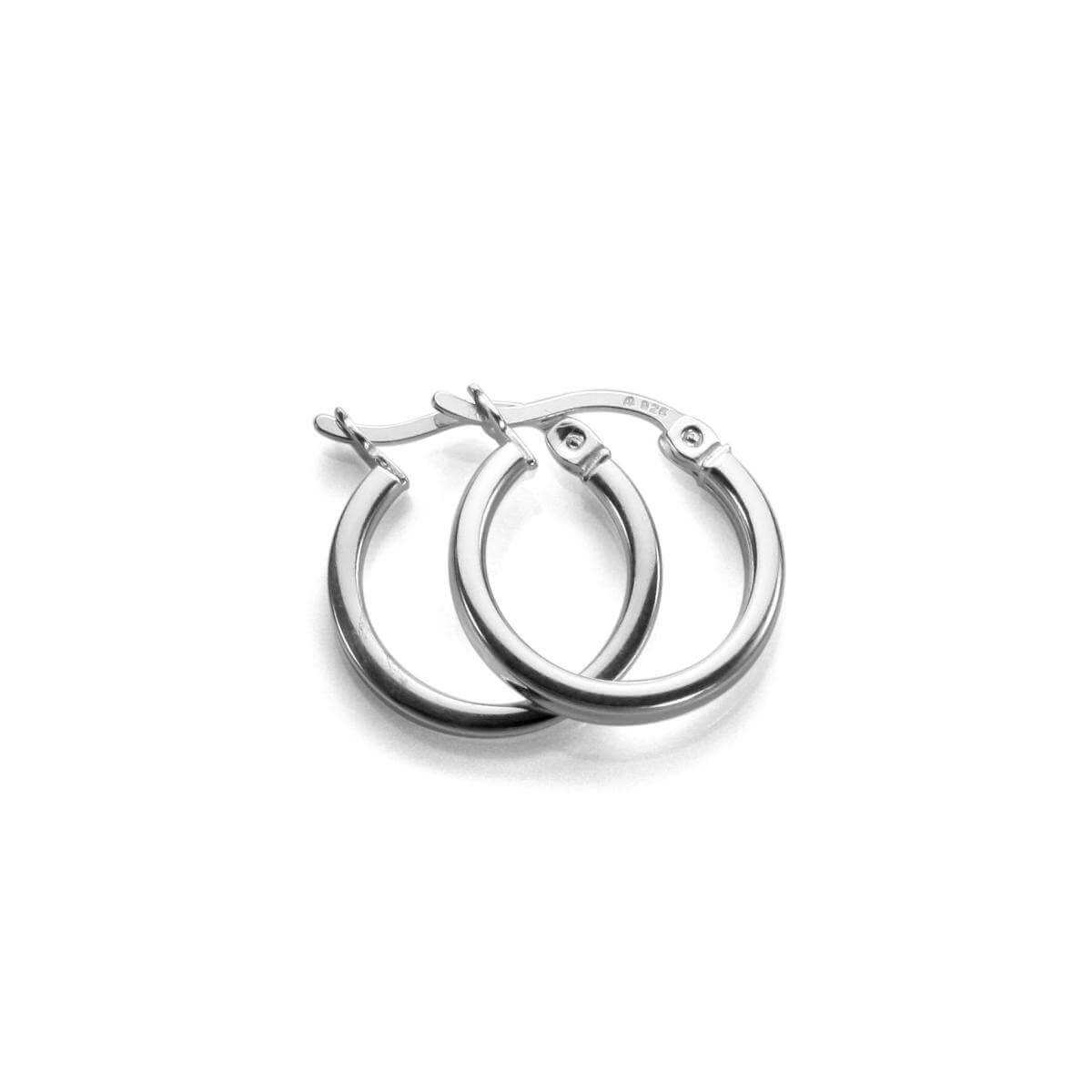 Sterling Silver 12mm Square Tube Hoop Earrings