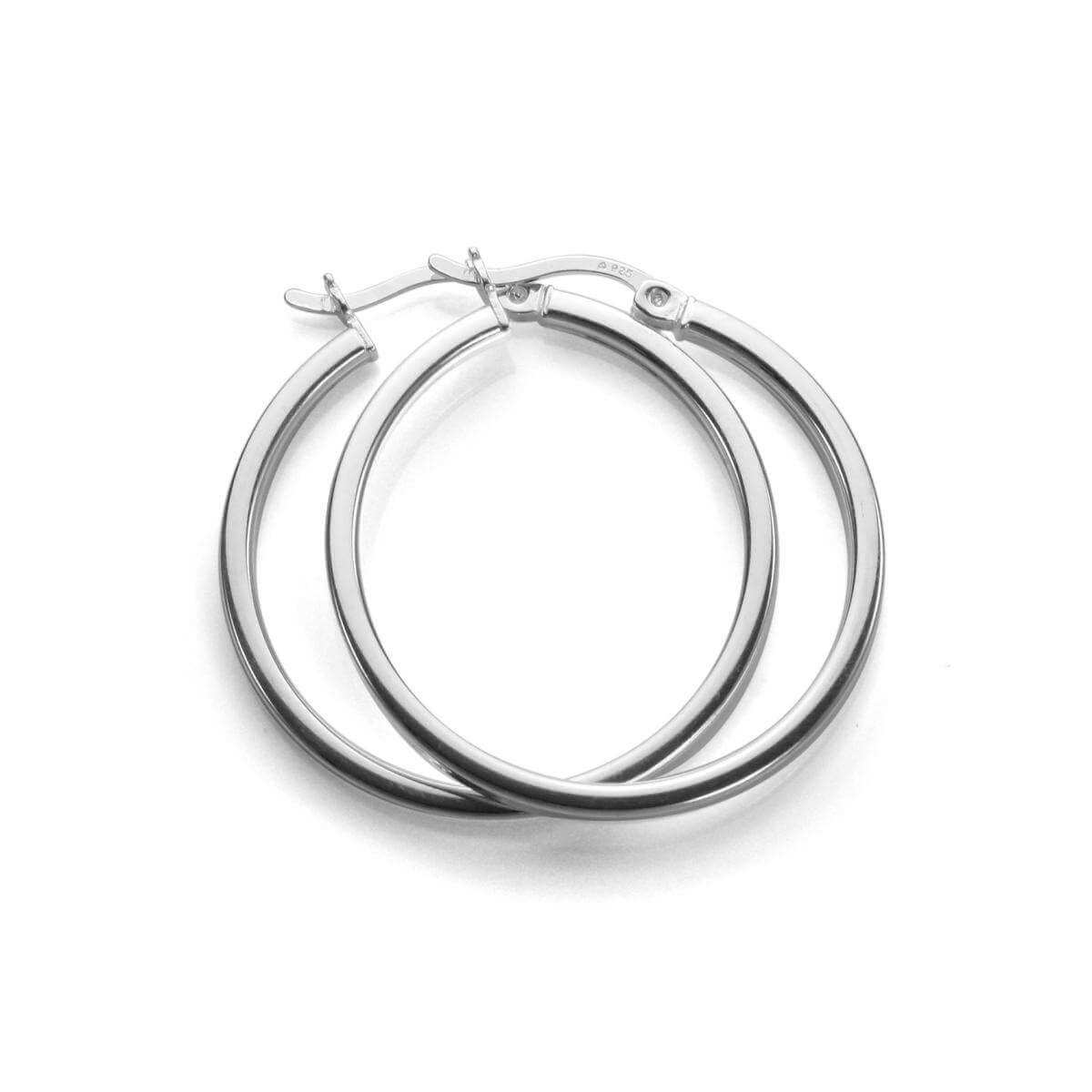 Sterling Silver 25mm Square Tube Hoop Earrings