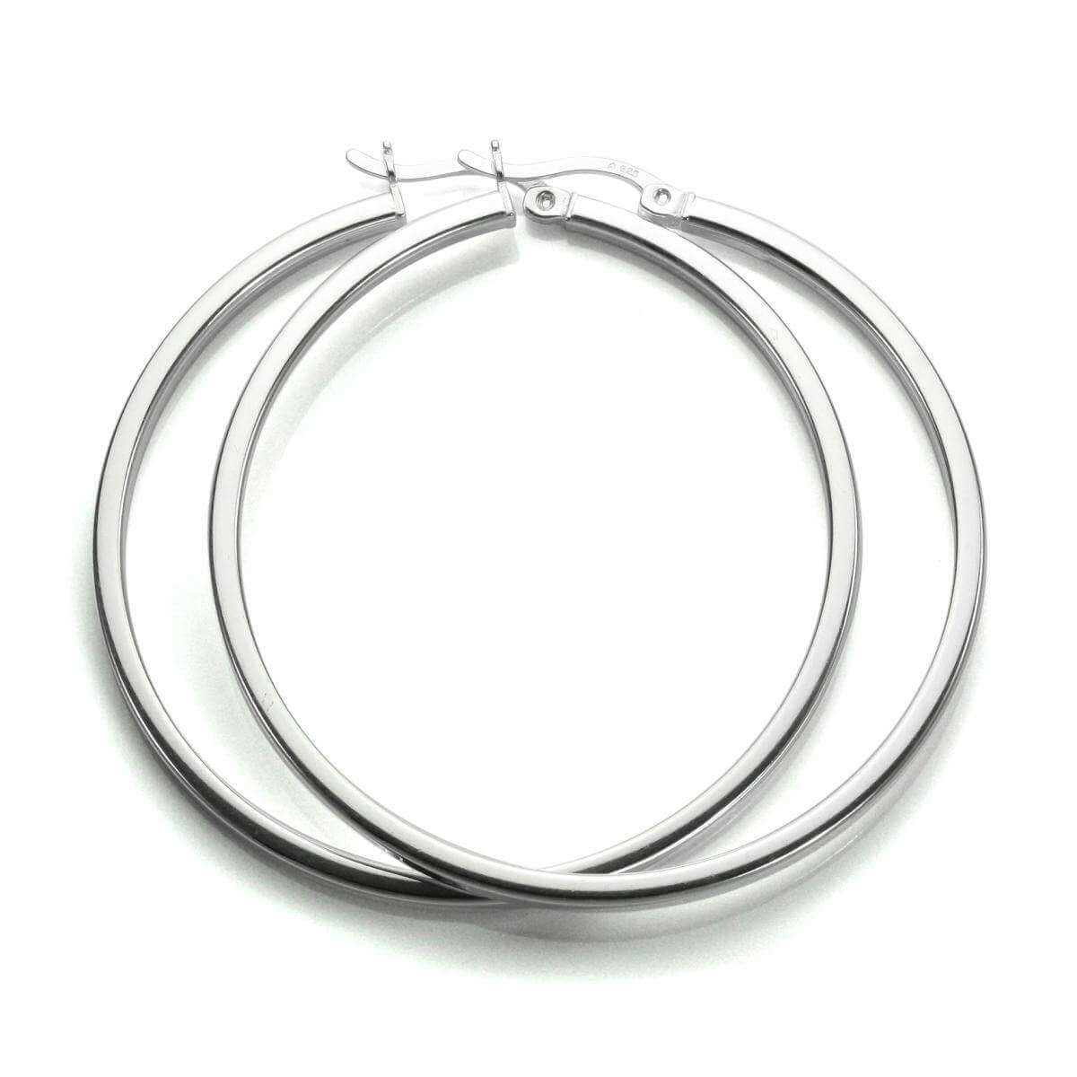 Sterling Silver 40mm Square Tube Hoop Earrings