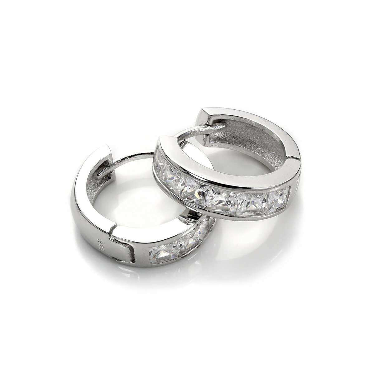 Sterling Silver Clear CZ Princess Set Huggie Earrings