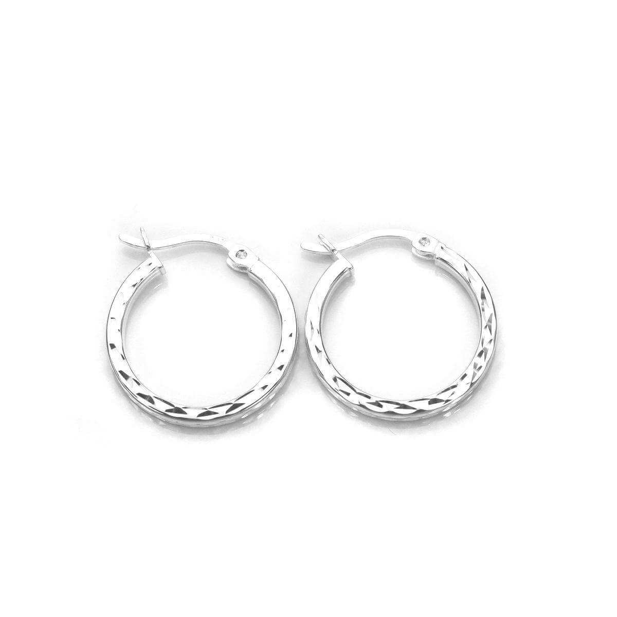 Sterling Silver Diamond Cut Square Tube 15mm Hoop Earrings