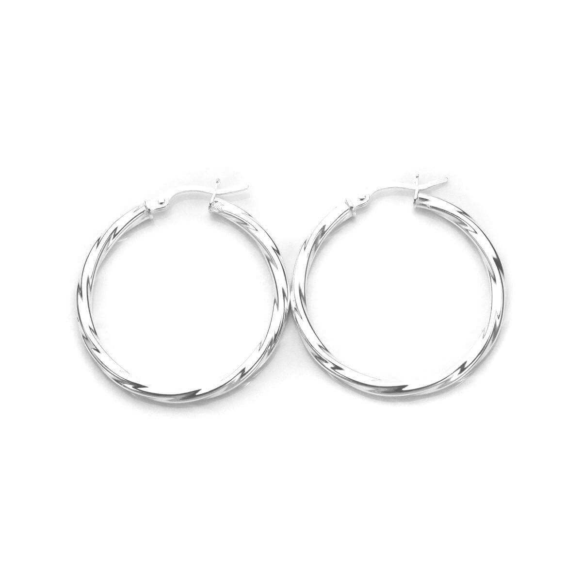 Sterling Silver 30mm Twisted 2.5mm Tube Creole Earrings