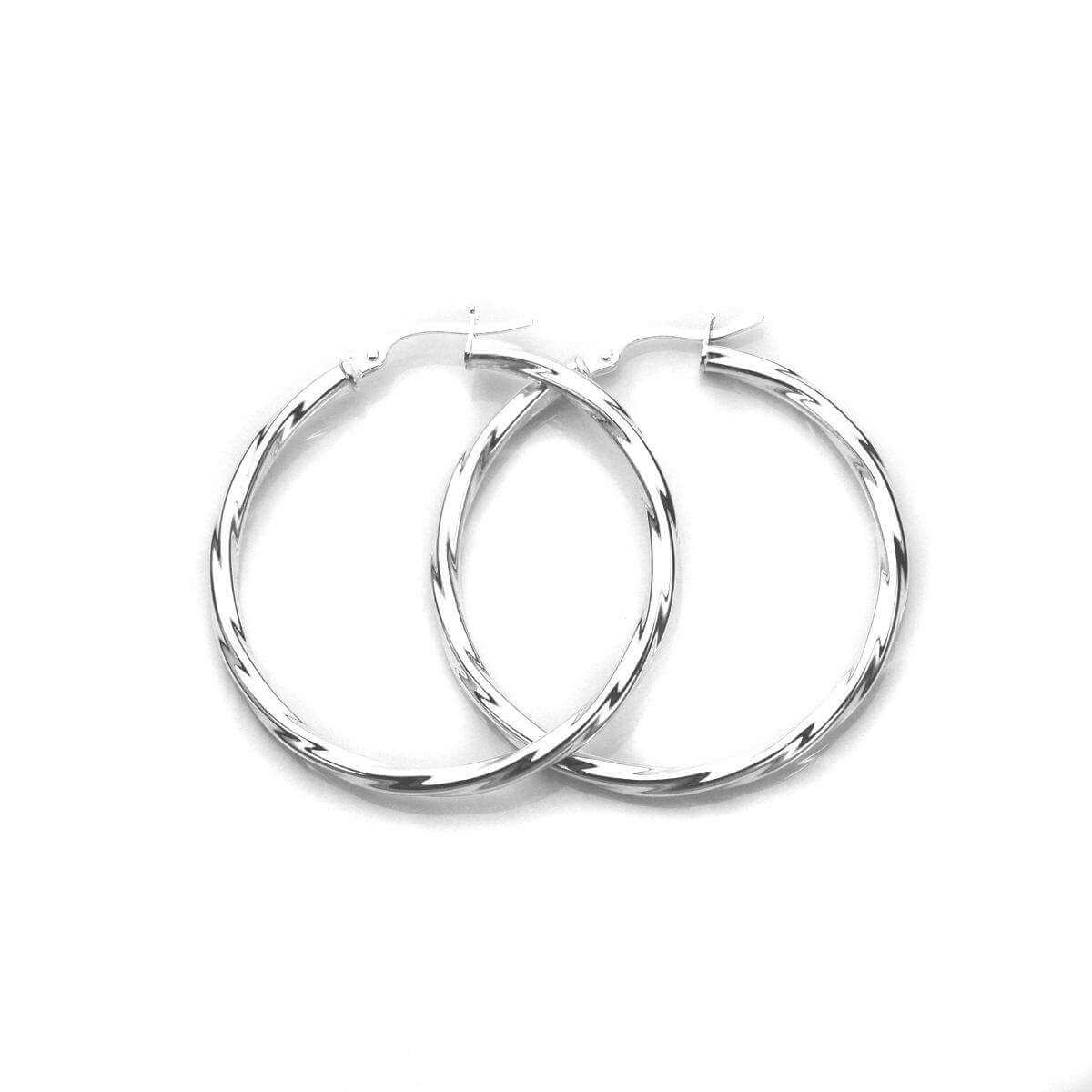 Sterling Silver 35mm Twisted 2.5mm Tube Creole Earrings