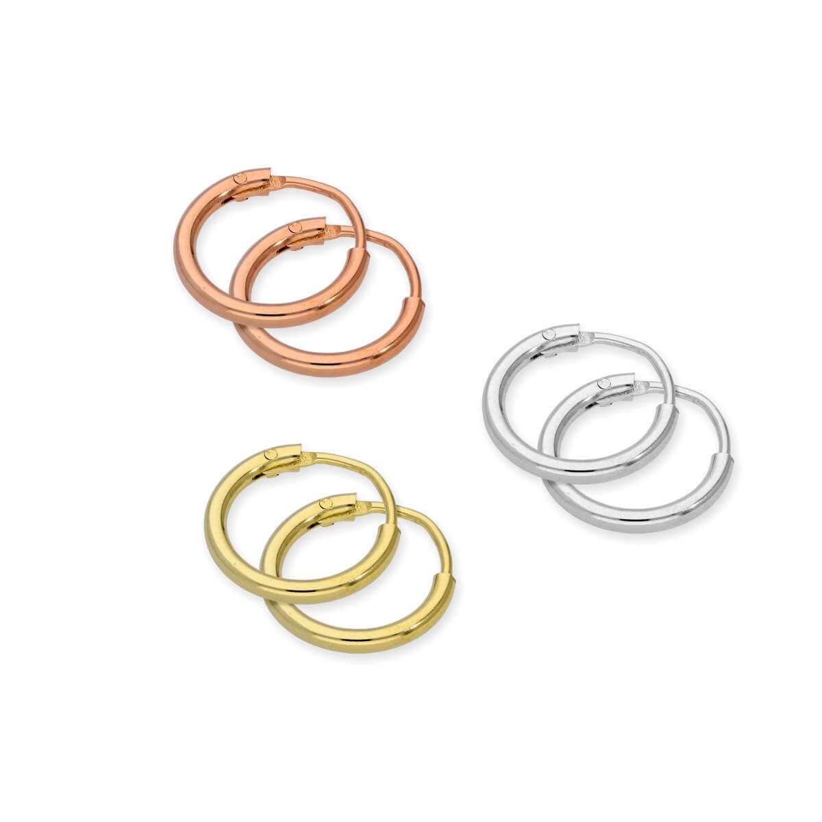 Sterling Silver 10mm Sleeper Hoop Earrings Set- Three Colours