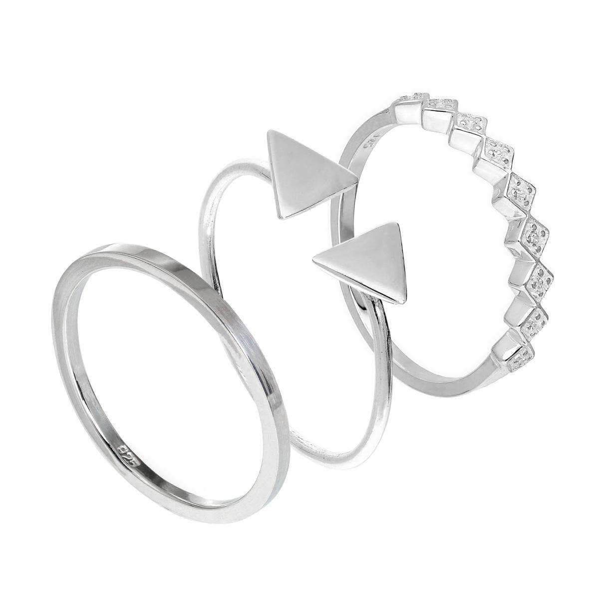 Sterling Silver Triangle CZ Square Geometric Stacking Rings Set
