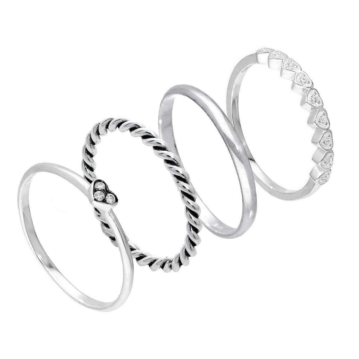 Sterling Silver CZ Love Hearts Twisted Plain Stacking Rings Set