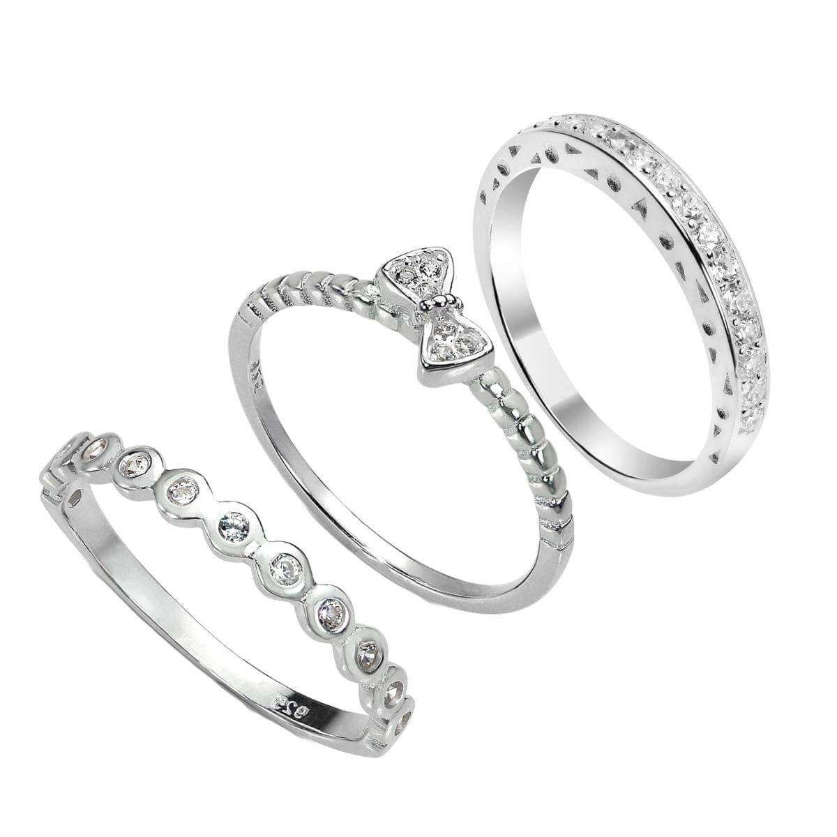 Sterling Silver CZ Bow & Eternity Stacking Rings Set