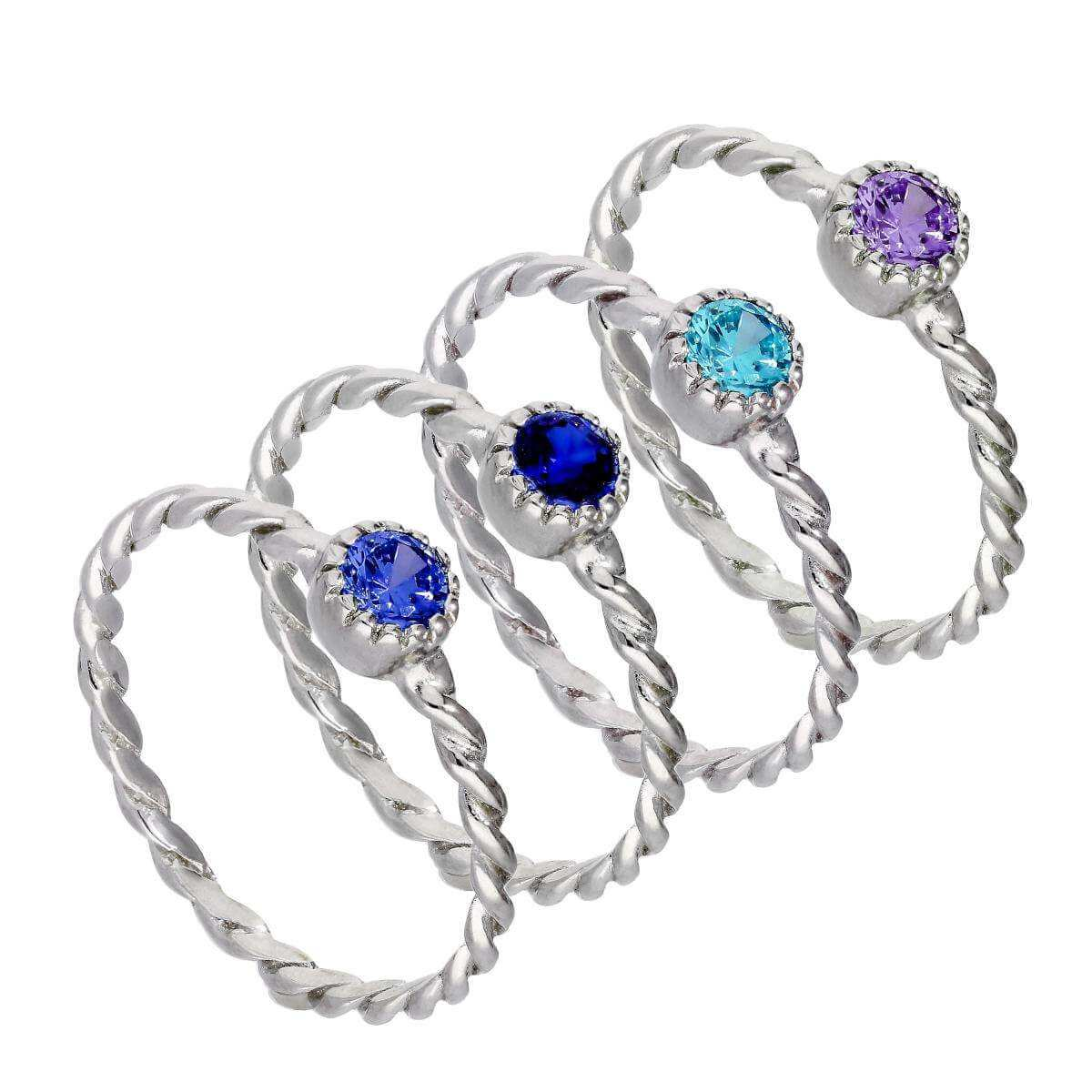 Sterling Silver Purple & Blue Twisted CZ Stacking Rings Set