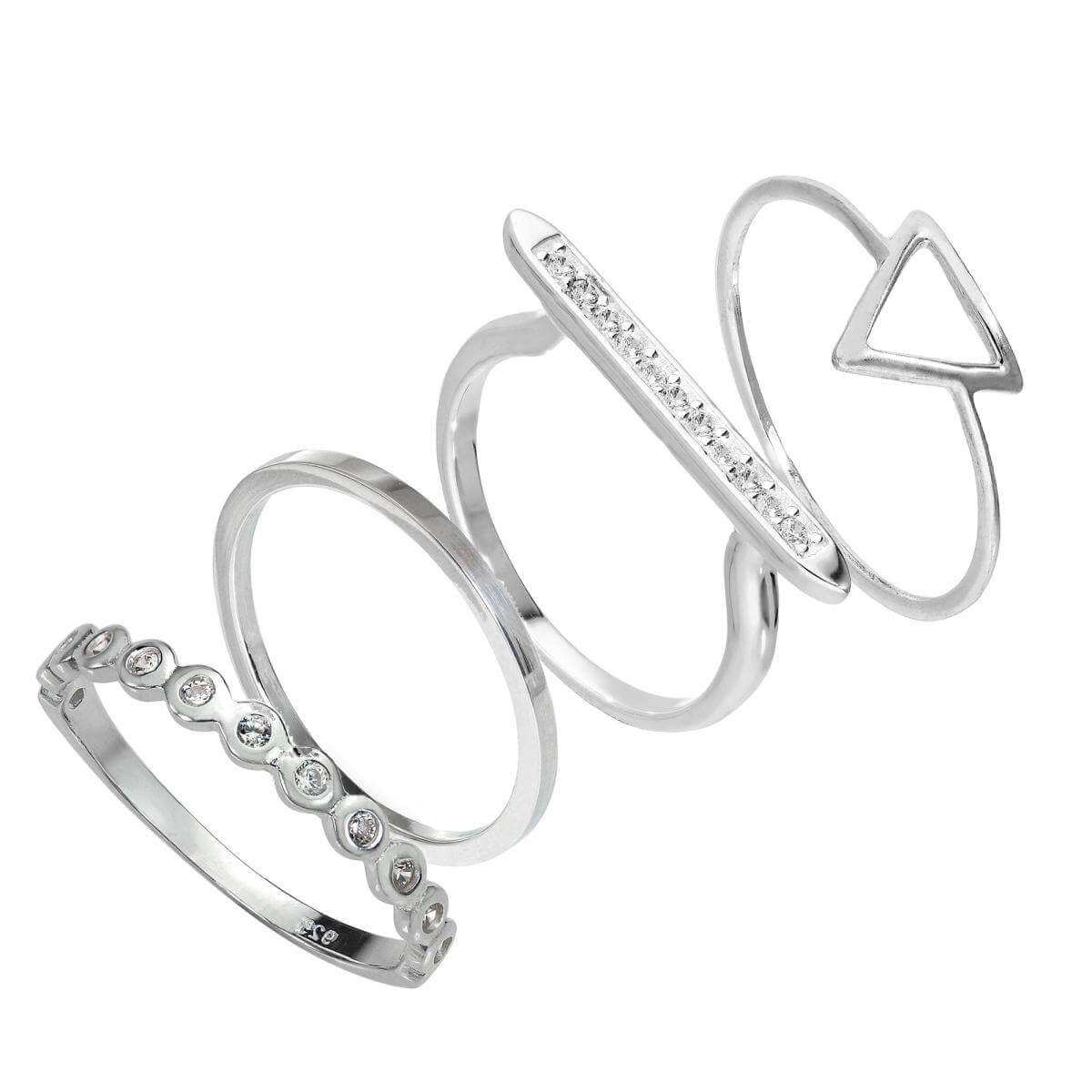 Sterling Silver Triangle & Bar Geometric CZ Stacking Rings Set