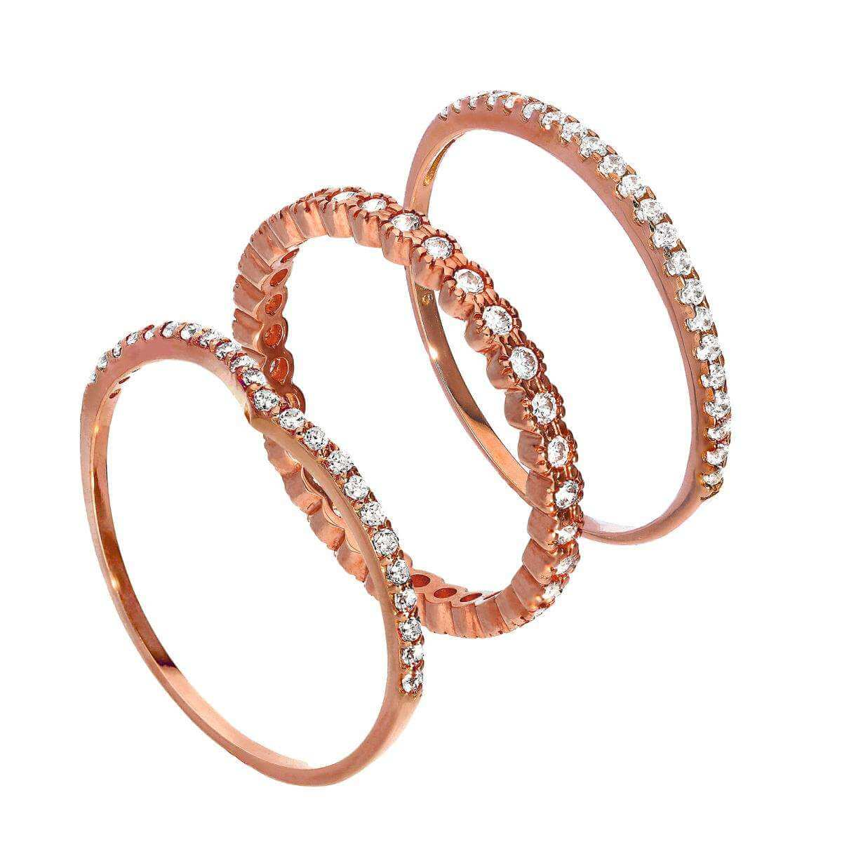 9ct Rose Gold Wishbone & Eternity CZ Sparkle Stacking Rings Set