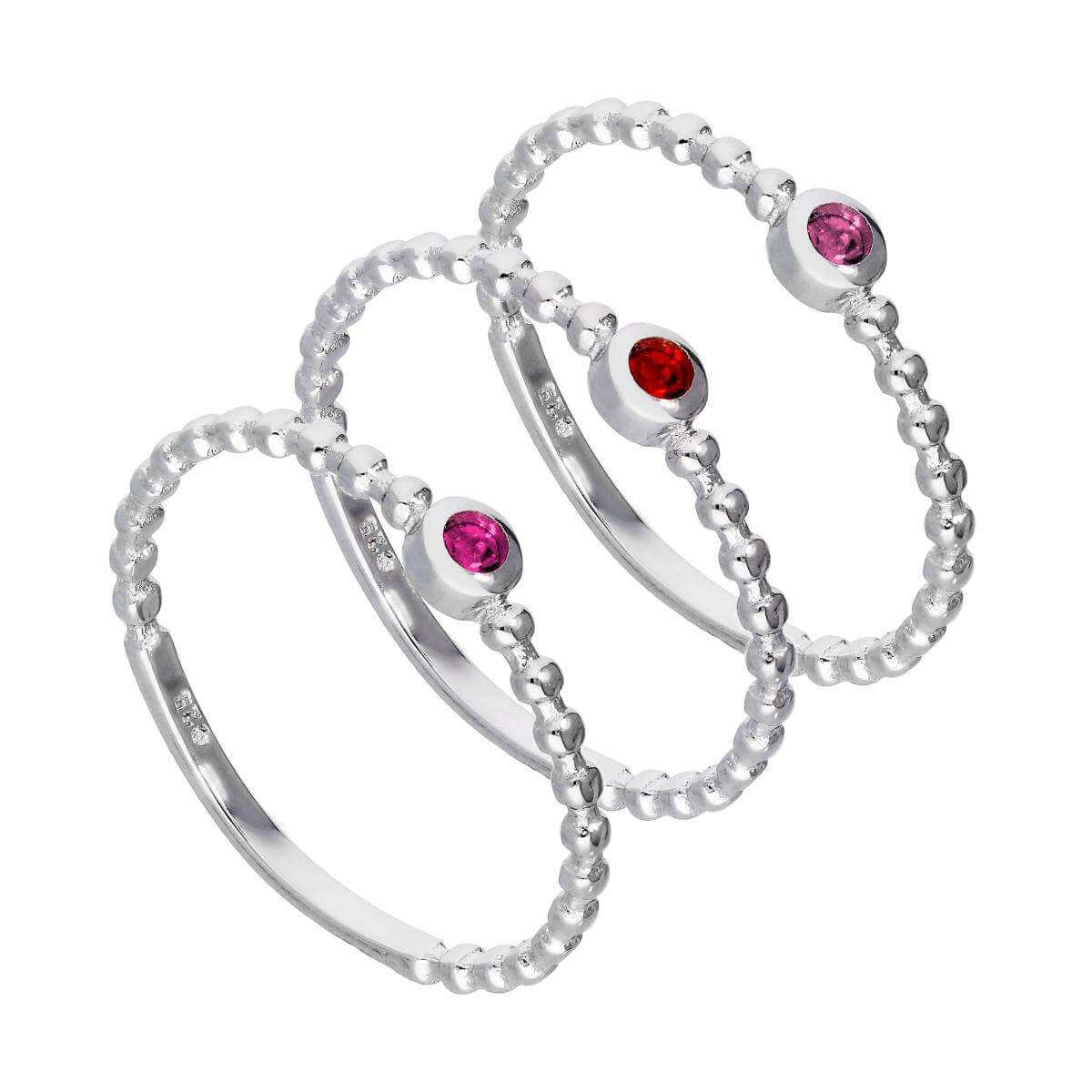 Sterling Silver Pink Beaded CZ Stacking Rings Set