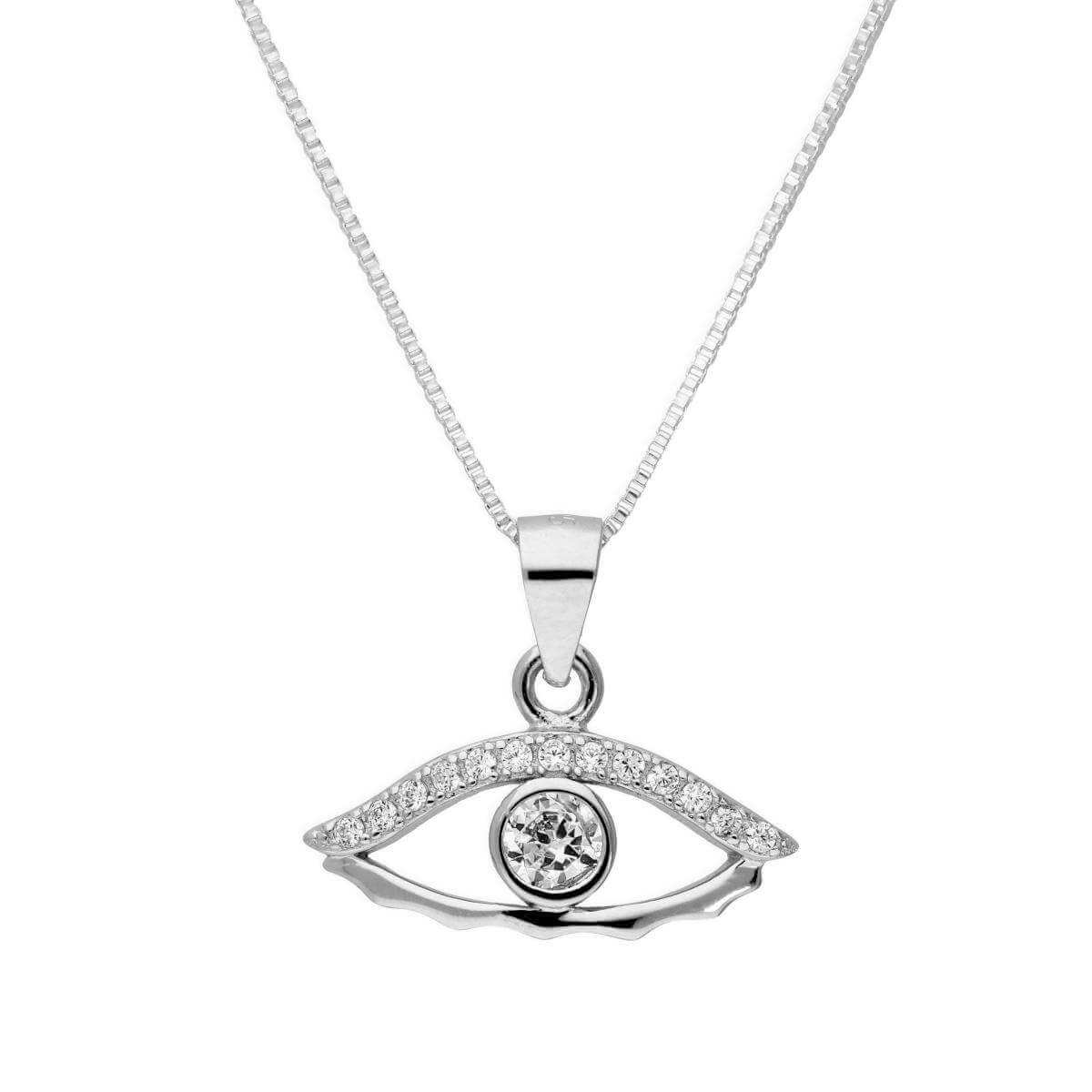 Sterling Silver & Clear CZ Crystal Evil Eye Pendant Necklace 16 - 22 Inches