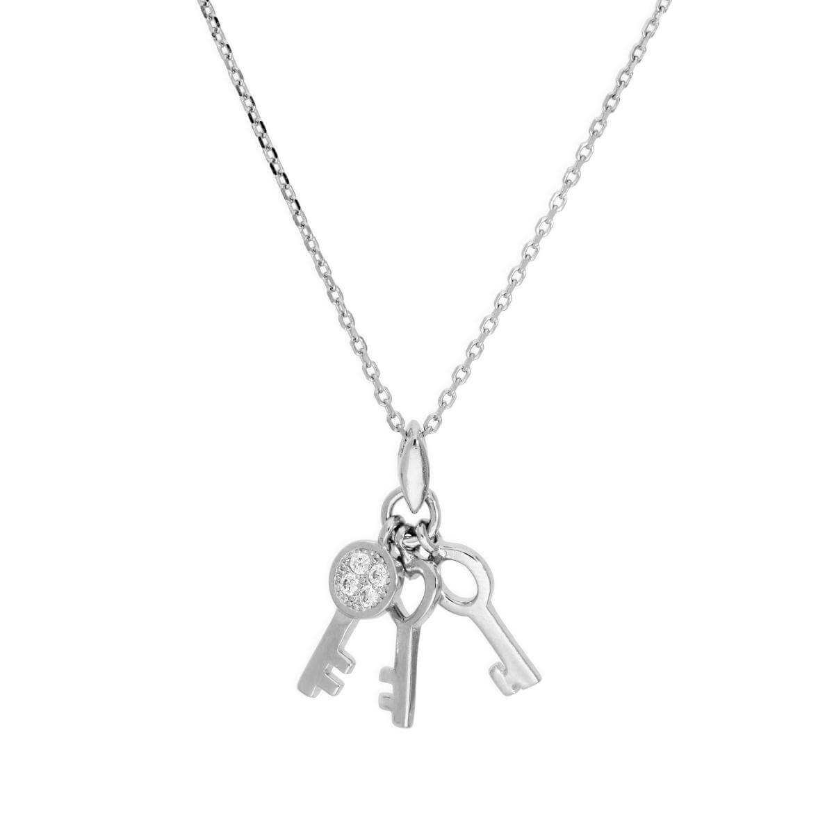 Sterling Silver & Clear CZ Crystal Three Keys Necklace