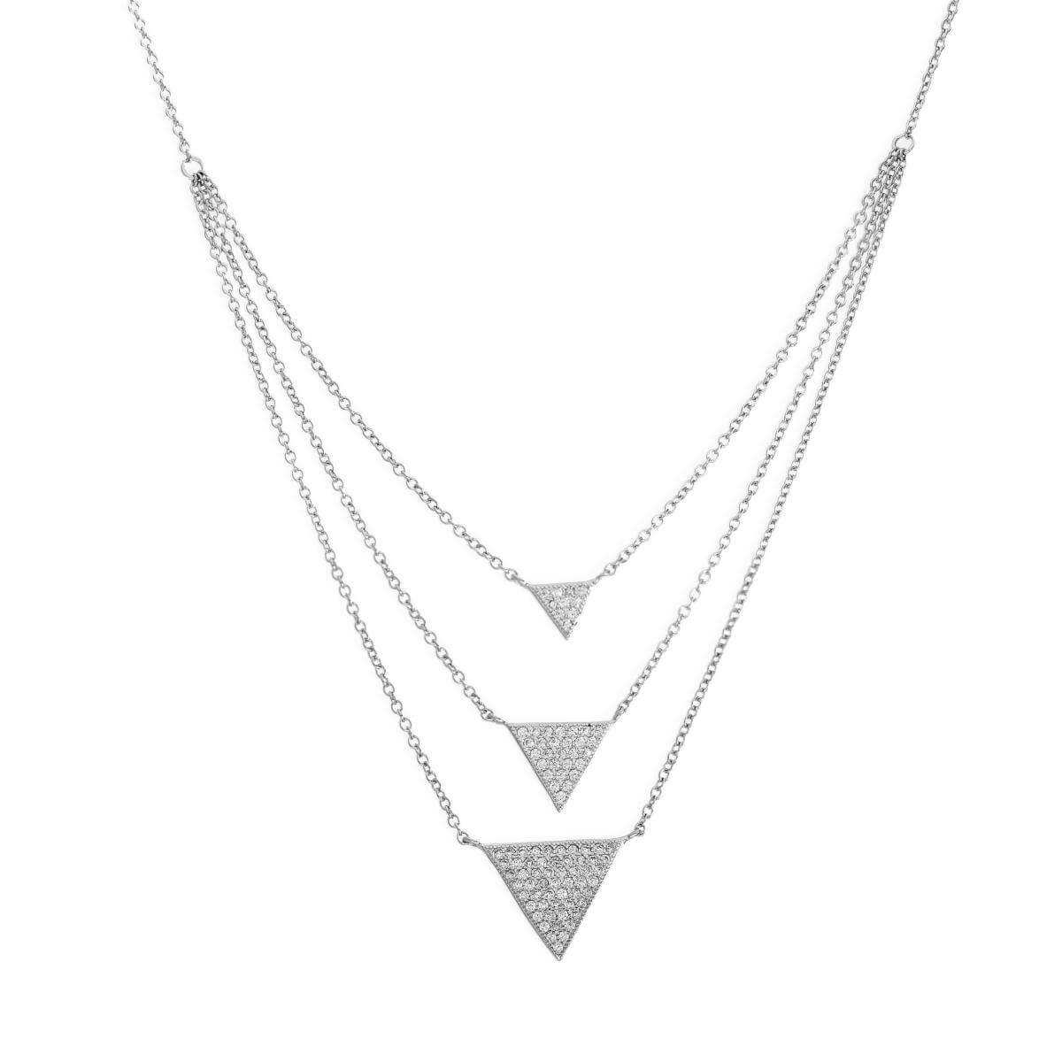 Sterling Silver & Clear CZ Crystal Triple Drop Triangles Necklace