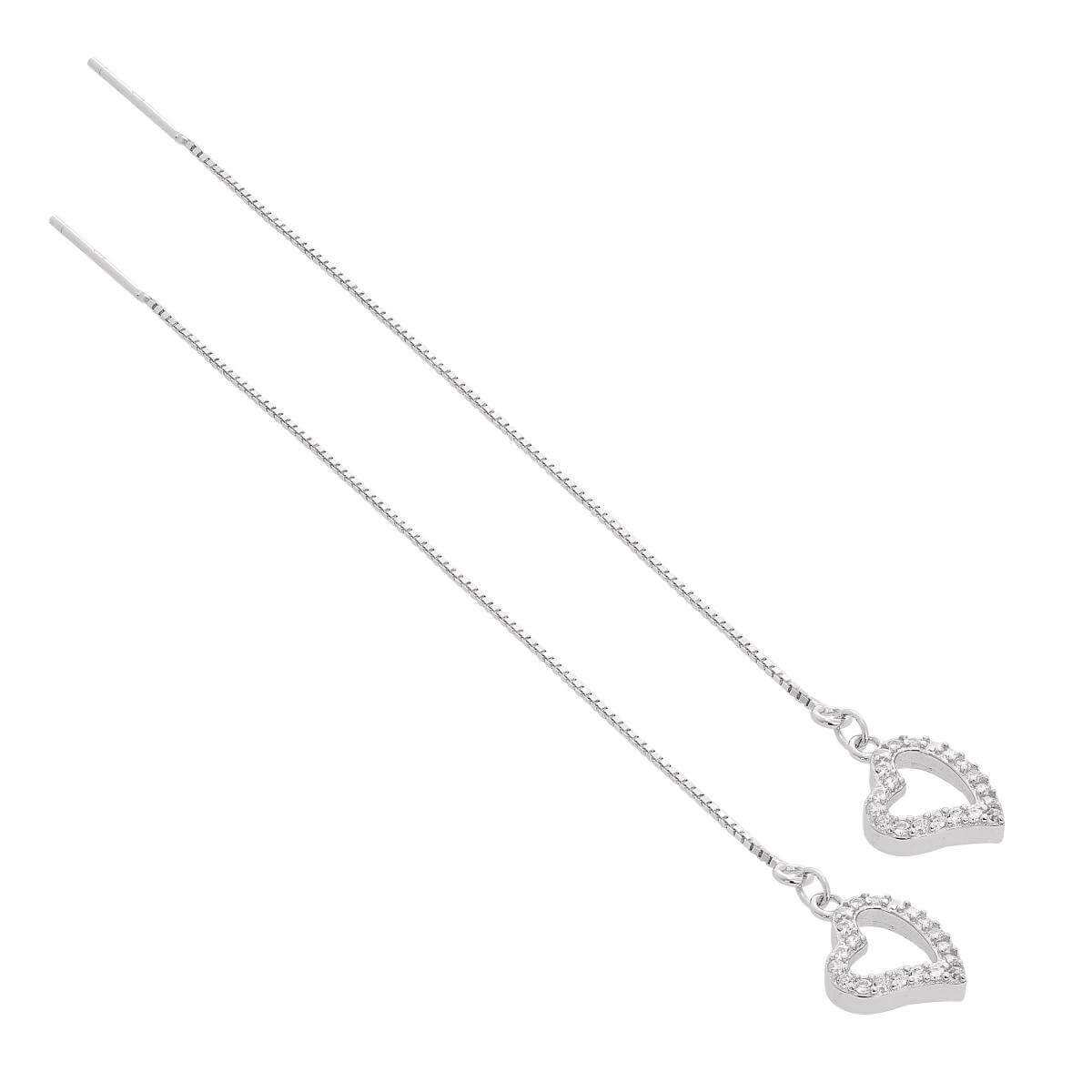 Sterling Silver & Clear CZ Crystal Heart Outline Pull Through Earrings